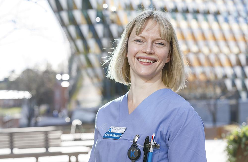 Rebecca Ingebrigtsen, sjuksköterska på IMA i Solna. Foto: Gonzalo Irigoyen